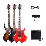 """Glarry 37"""" Electronic Guitar with Speaker, Strap, Plectrum, Crank, Connecting Wire, Spanner Tool and Beginner Starter Package, 3-Color"""