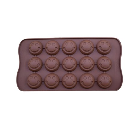 Thomas Candy Cube - 1Pcs 15-Mold Silicone Chocolate Jelly Candy Mold Ice Cube DIY Cake Cookie Biscuit Mould Kitchen Baking Tool Brown Style 1 Smile