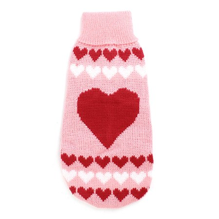 Pet Yorkie - Unique Bargains Winter Turtleneck Heart Printed Pet Dog Yorkie Apparel Sweater Pink Red S