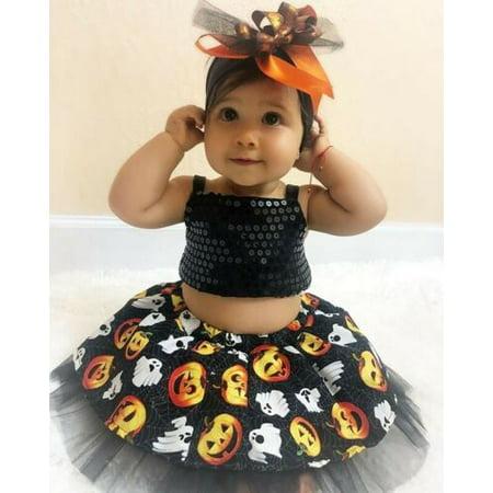 Halloween Games Pumpkin Smashing (Pudcoco Baby Girl Halloween Outfit Pumpkin Sequin Top Tutu Skirt Dress Cake Smash)