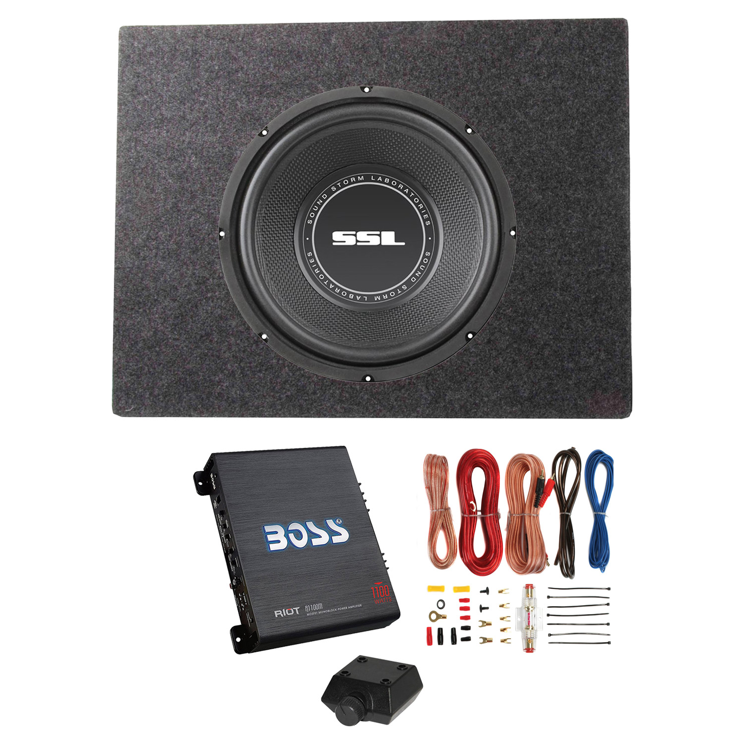 "Sound Storm SS12 12"" 800W Subwoofer + Shallow Enclosure + Amplifier & Wiring Kit"