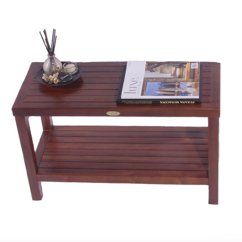 teak spa shower bench w shelf