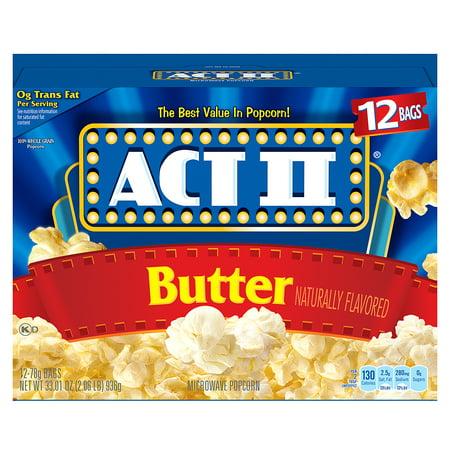 (3 Pack) ACT II Microwave Popcorn, Butter, 2.75 Oz, 12 - Popcorn Snack Mix Halloween