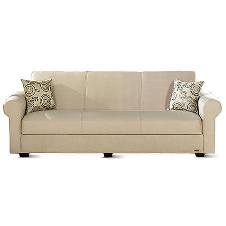 Elita Twin Size Sofa Sleeper With Hidden Storage Beige
