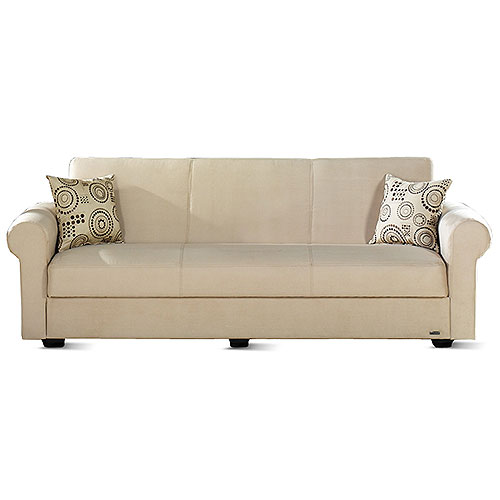 Elita Twin Size Sofa Sleeper With Hidden Storage, Beige