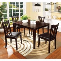 5Pc Dining Table Set, Chair with Pu Cushion, Walnut Finish