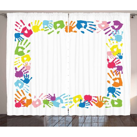 Kids Party Curtains 2 Panels Set, Happy Childhood Themed Frame with Handprints in Rainbow Colors Grunge Display, Window Drapes for Living Room Bedroom, 108W X 63L Inches, Multicolor, by Ambesonne