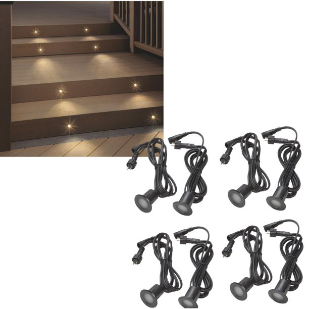 deckorators 8 light led low voltage recessed light kit 117659