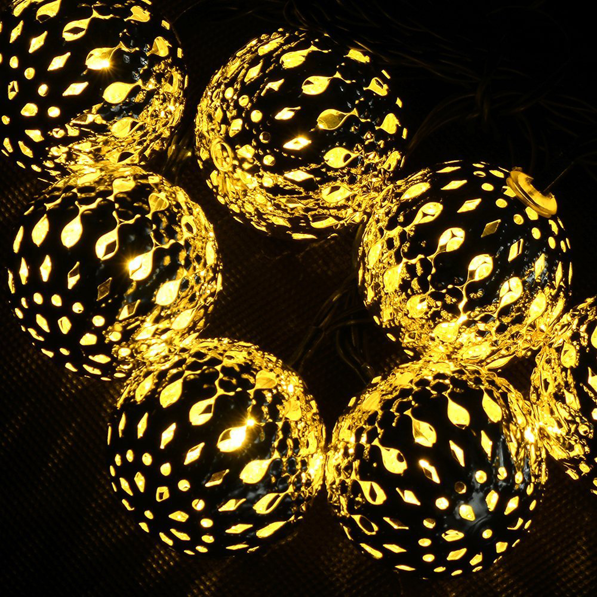 AGPTEK 10 LED Waterproof Solar Retro Steel Ball Outdoor String Lights