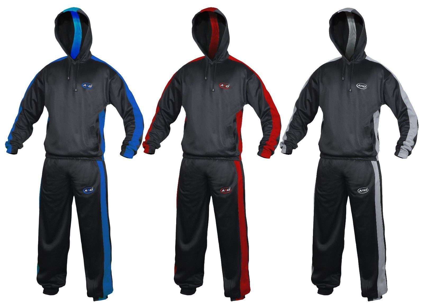 ARD CHAMPS™ Heavy Duty Sweat Suit Sauna Exercise Gym Fitness Weight Loss, Color Black Grey, Size XL