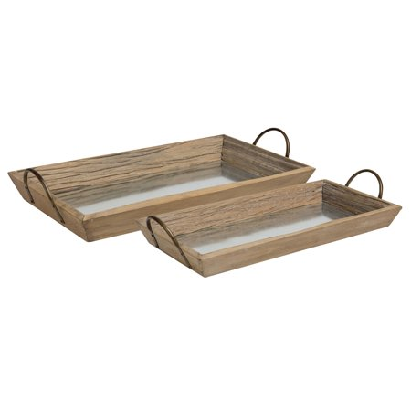 Kate and Laurel - Meora Set of 2 Rectangular Decorative Driftwood Nesting Serving Trays with Bronze Handles and Galvanized Metal Base, Small: 21 x 11 Large: 23.5 x 13 ()