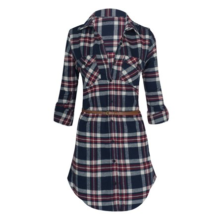 481794bde4a Hot From Hollywood - Women's Long Sleeve Button Down Plaid Flannel Belted Tunic  Shirt Dress - Walmart.com