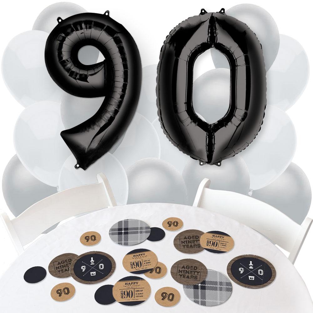 90th Milestone Birthday - Confetti and Balloon Birthday Party Decorations - Combo Kit