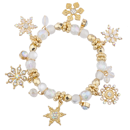 Lux Accessories Gold Tone Crystal AB Faux Pearl Holiday Snowflake Xmas Bracelet Alexandrite Crystal Bracelet