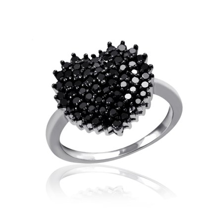 (JewelersClub 1.00 CTW Round cut Black Diamond Heart Shape Sterling Silver Ring)