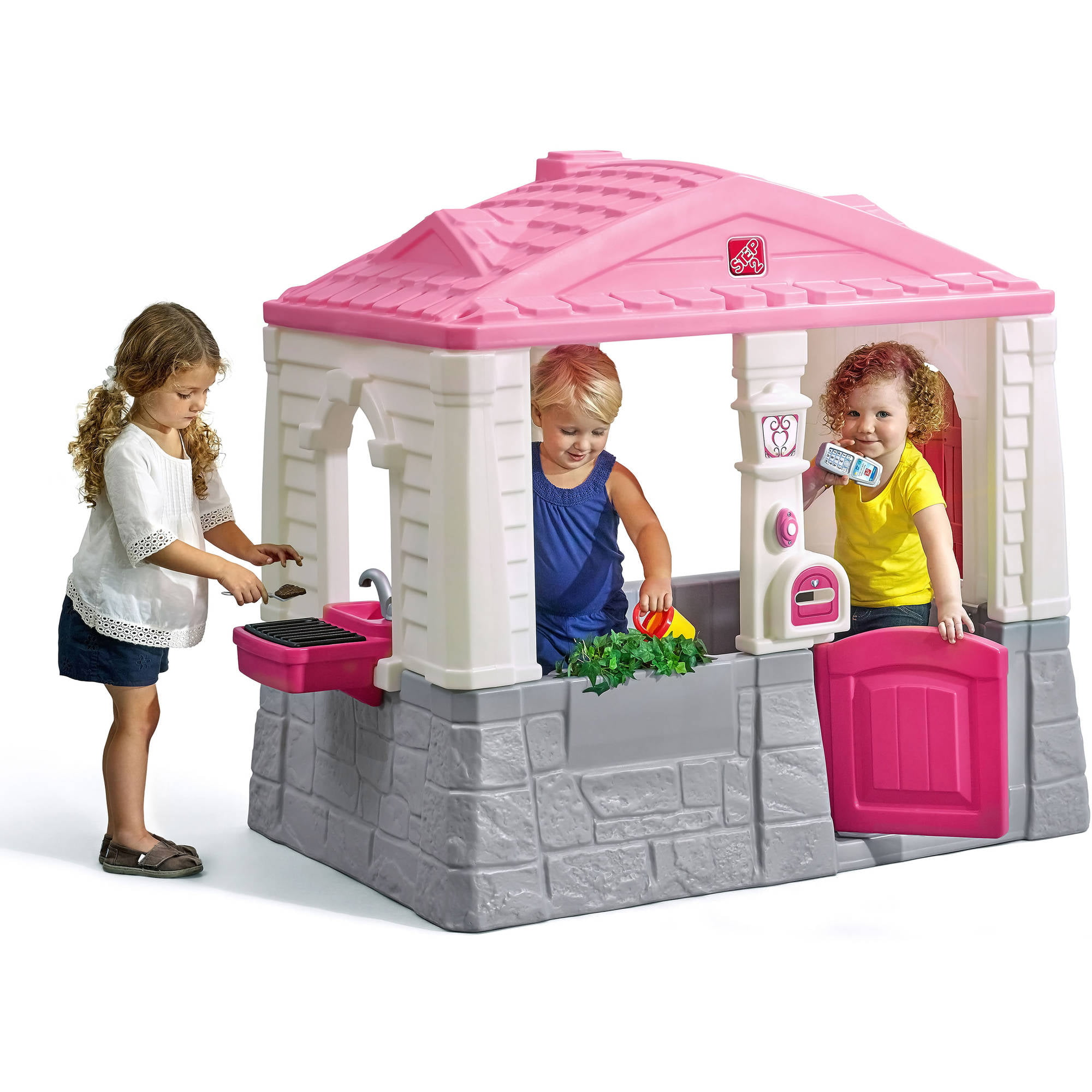 Plastic Play Kitchen Step 2 step2 neat and tidy cottage playhouse, pink - walmart