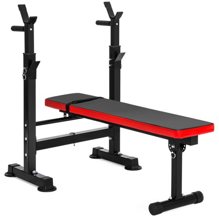 Best Choice Products Adjustable Folding Fitness Barbell Rack and Weight Bench for Home Gym, Strength Training -