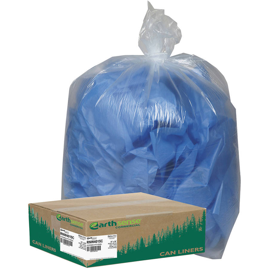 Earthsense Commercial Recycled 33 Gallon Can Liners, Clear, 100 count