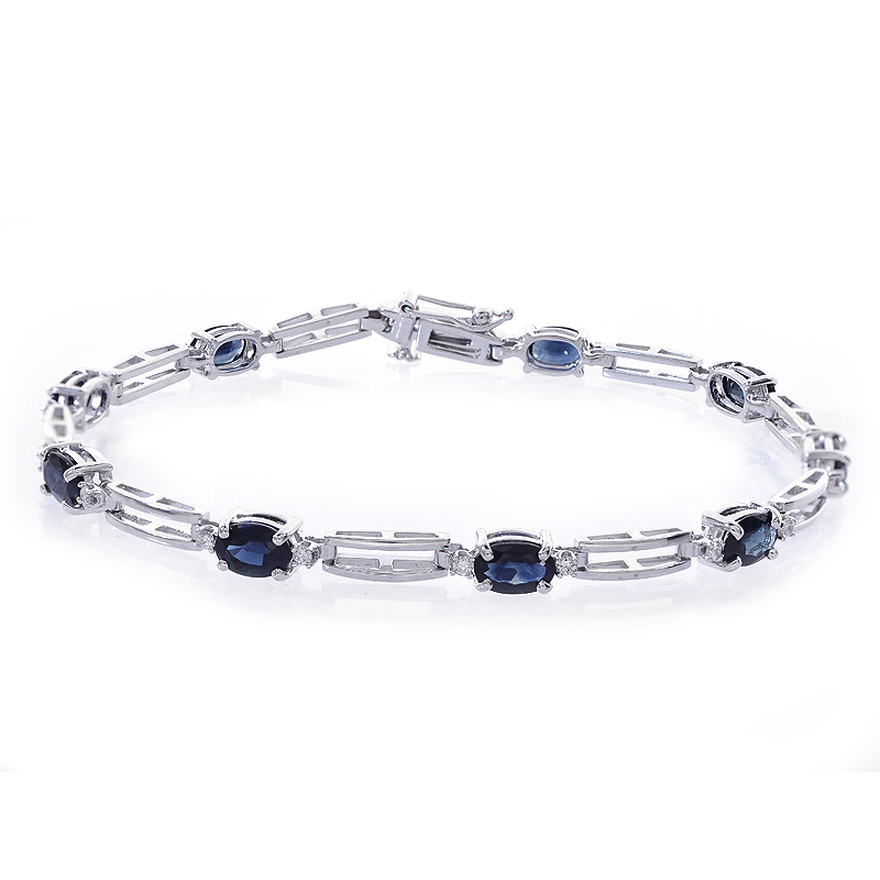 0.20 Carat Diamond and 4.50 Carat Sapphire 14k White Gold Link Bracelet by