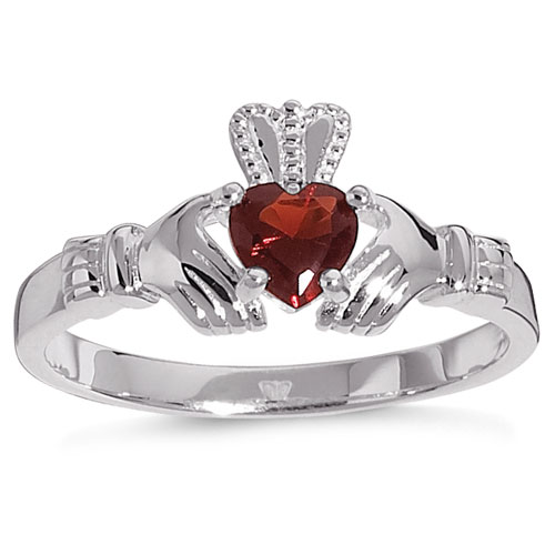 Personalized Sterling Silver and Birthstone Claddagh Ring
