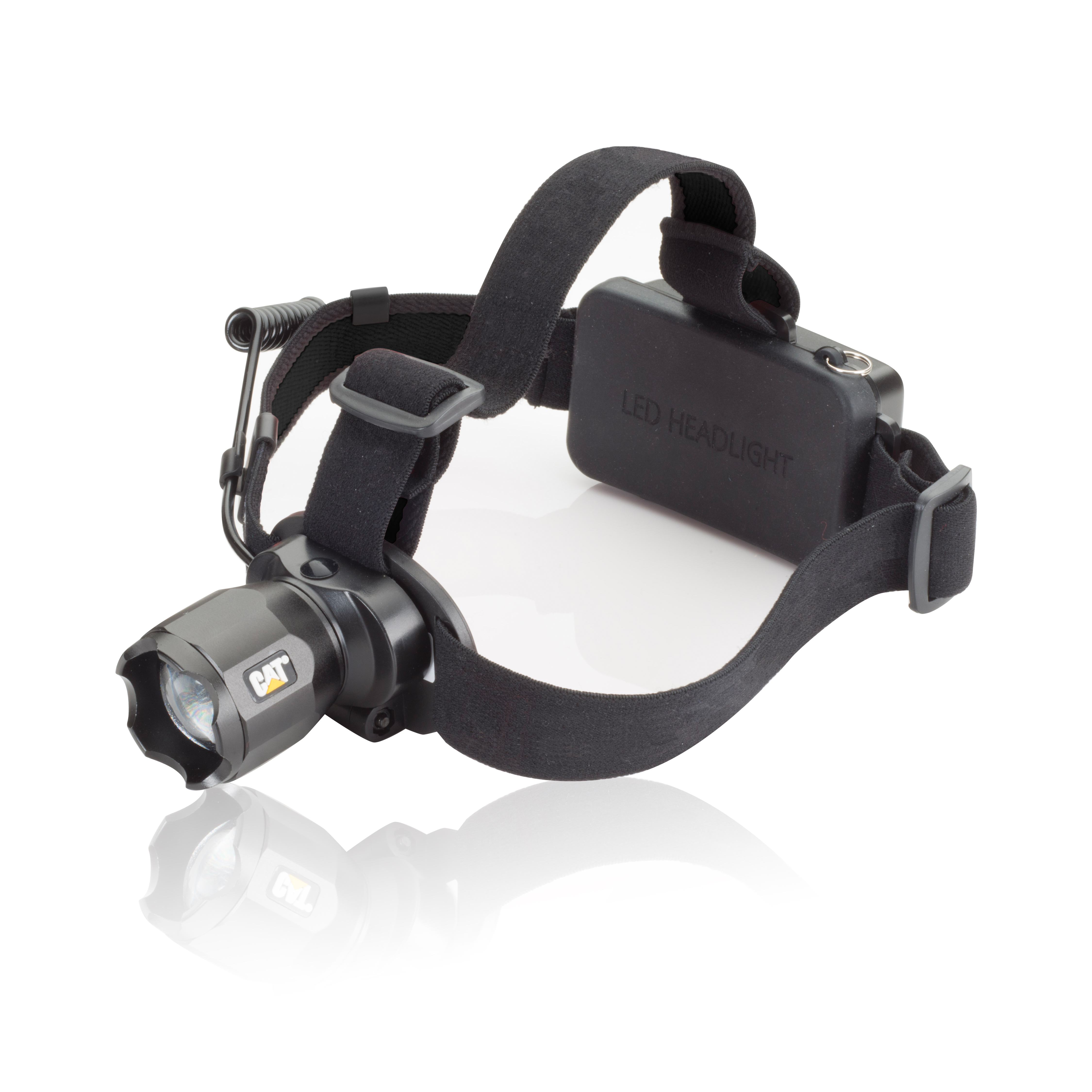 Caterpillar Black 380 Lumen Rechargeable CREE LED Focusing Headlamp with Adjustable Angle Head