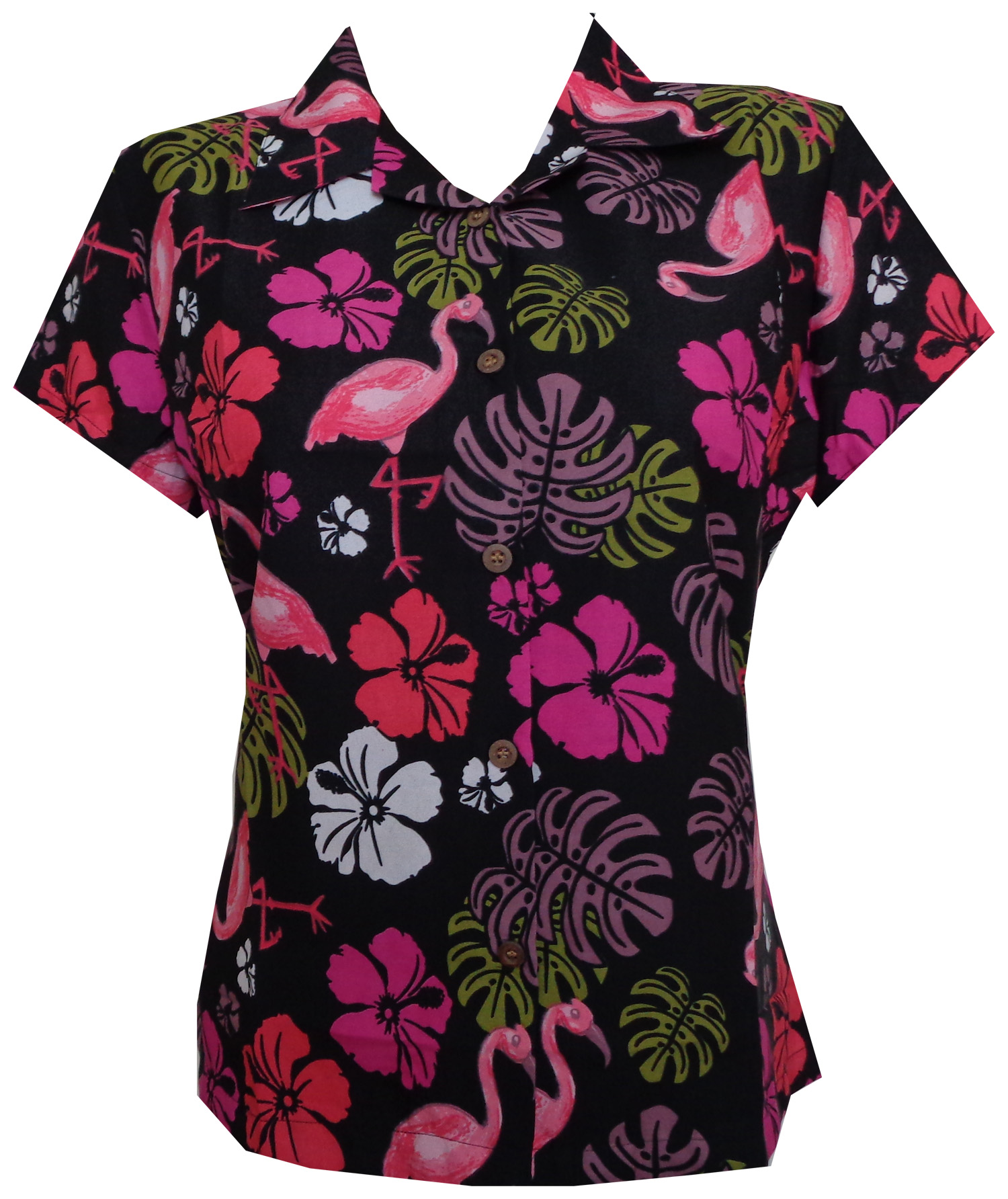 fecfcb3174f248 Hawaiian Shirt 37W Women Flamingo Leaf Print Aloha Beach Blouse ...