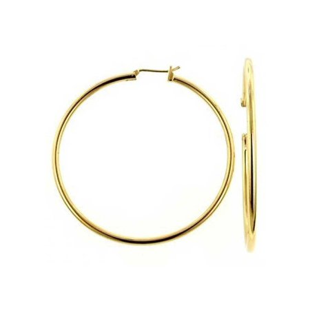 Minimalist Round Tube Thin Large Hoop Earrings For Women Polished 18K Gold Plated Brass 2.5 Inch Dia