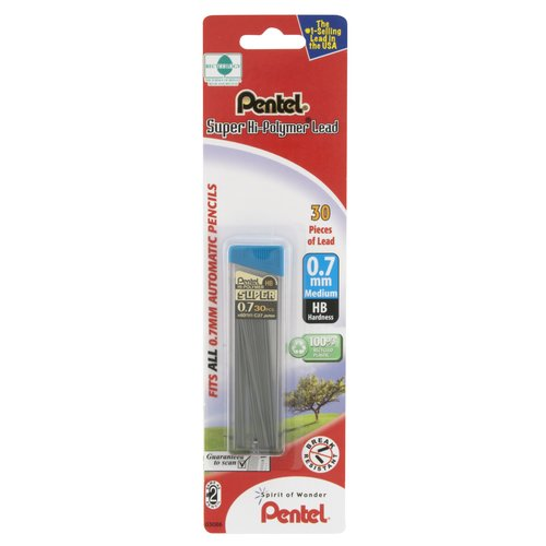 Pentel Super Hi-Polymer Lead, 0.7mm, Medium, 30 ct