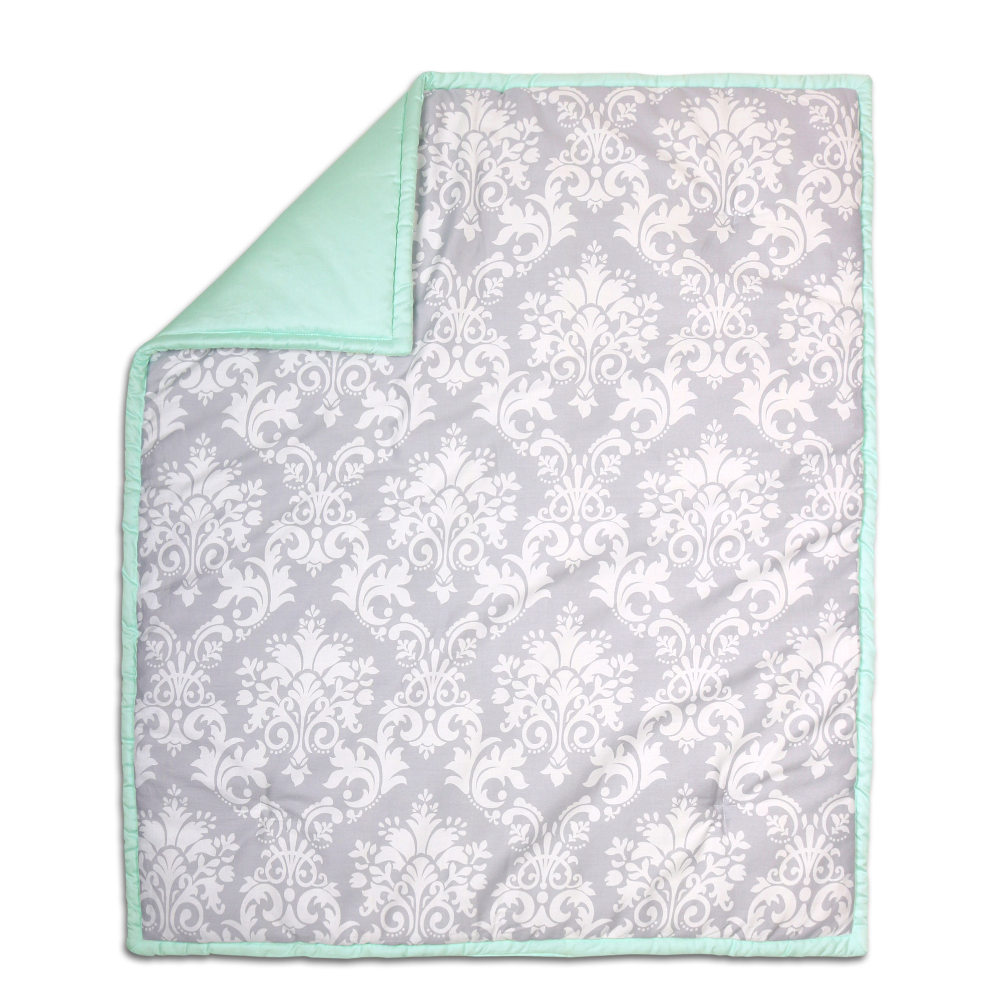 The Peanut Shell Baby Crib Quilt - Grey Floral Damask and Mint Green - 100% Cotton Sateen Fabrics, 44 by 37 Inches