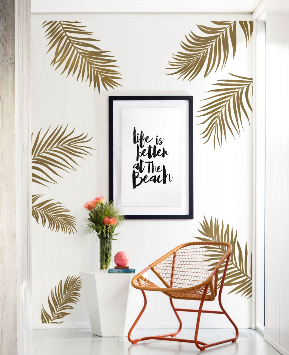 Palm Leaves Wall Palm Leaves Wall Decal   Gold Metallic   Walmart.com