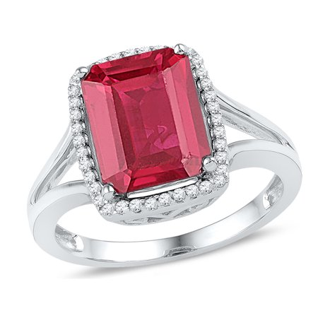Emerald Cut Lab Created Ruby 4.50 Carat (ctw) Ring in 10K White Gold with Diamonds 1/6 Carat (ctw) - image 1 de 1