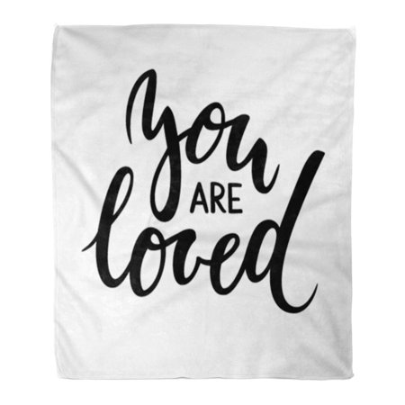 SIDONKU 50x60 inch Super Soft Throw Blanket You are Loved Creative and Brush Pen Lettering for Holiday The Wedding Home Decorative Flannel Velvet Plush Blanket