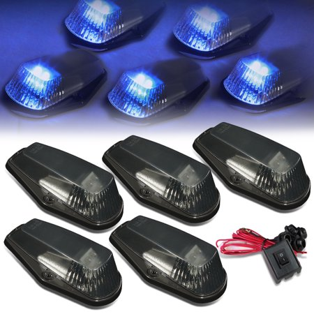 For 80-96 Ford F150-F450 5 X LED Cab Roof Top Lights + Wiring Harness + Switch (Smoked Housing Blue Lens) 92 93 94 95