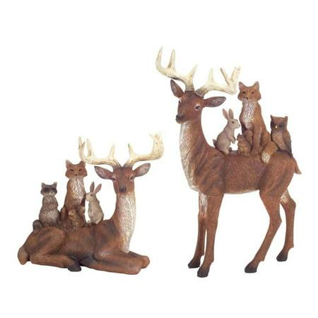 "Set of 2 Deer and Woodland Creature Figurines 10"""