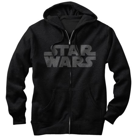 Star Wars Men's Simple Logo Zip Up (Logo Zip Hoodie Sweatshirt)