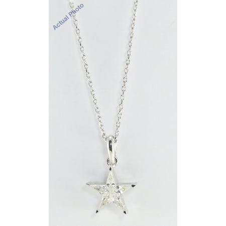18k White Gold Kite Cut Diamond Invisible Setting Star Pendant (0.34 Ct, Ij Color, si Clarity)