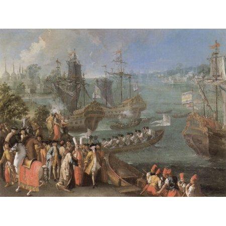 1750 Framed Canvas - Framed Art for Your Wall Venezianischer Meister um 1750 - Arrival of the French Ambassador 10 x 13 Frame