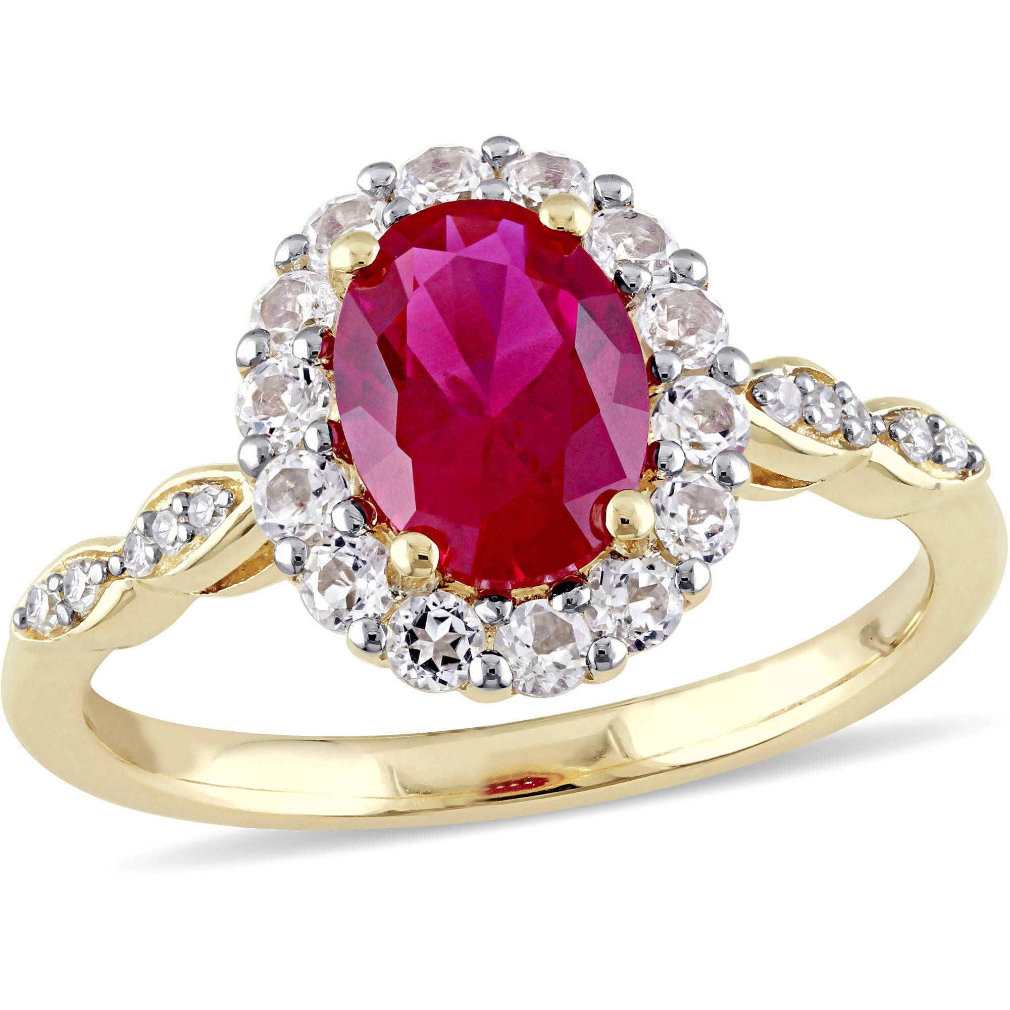 Tangelo 2-5 8 Carat T.G.W. Created Ruby, White Topaz and Diamond-Accent 14kt Yellow Gold Vintage Ring by Tangelo