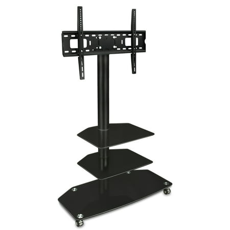 Mount-It! Rolling TV Cart Stand with Wheels and Universal Mount for 32 40  42 48 49 50 52 55 60 inch LED/LCD Flat Screen TVs (MI-870)