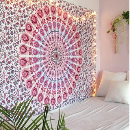 Light Pink Peacock Mandala Tapestry Twin Size Boho Beach