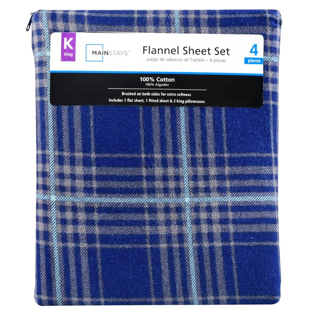 Mainstays Flannel Blue Plaid Sheet Set 1 Each King Walmart Com Walmart Com