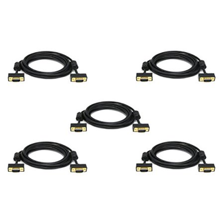 Gold 1.5 Mm Flat - C&E 5 Pack Ultra Slim SVGA Super VGA 30/32AWG M/M Monitor Cable w/ ferrites Gold Plated Connector 15 Feet