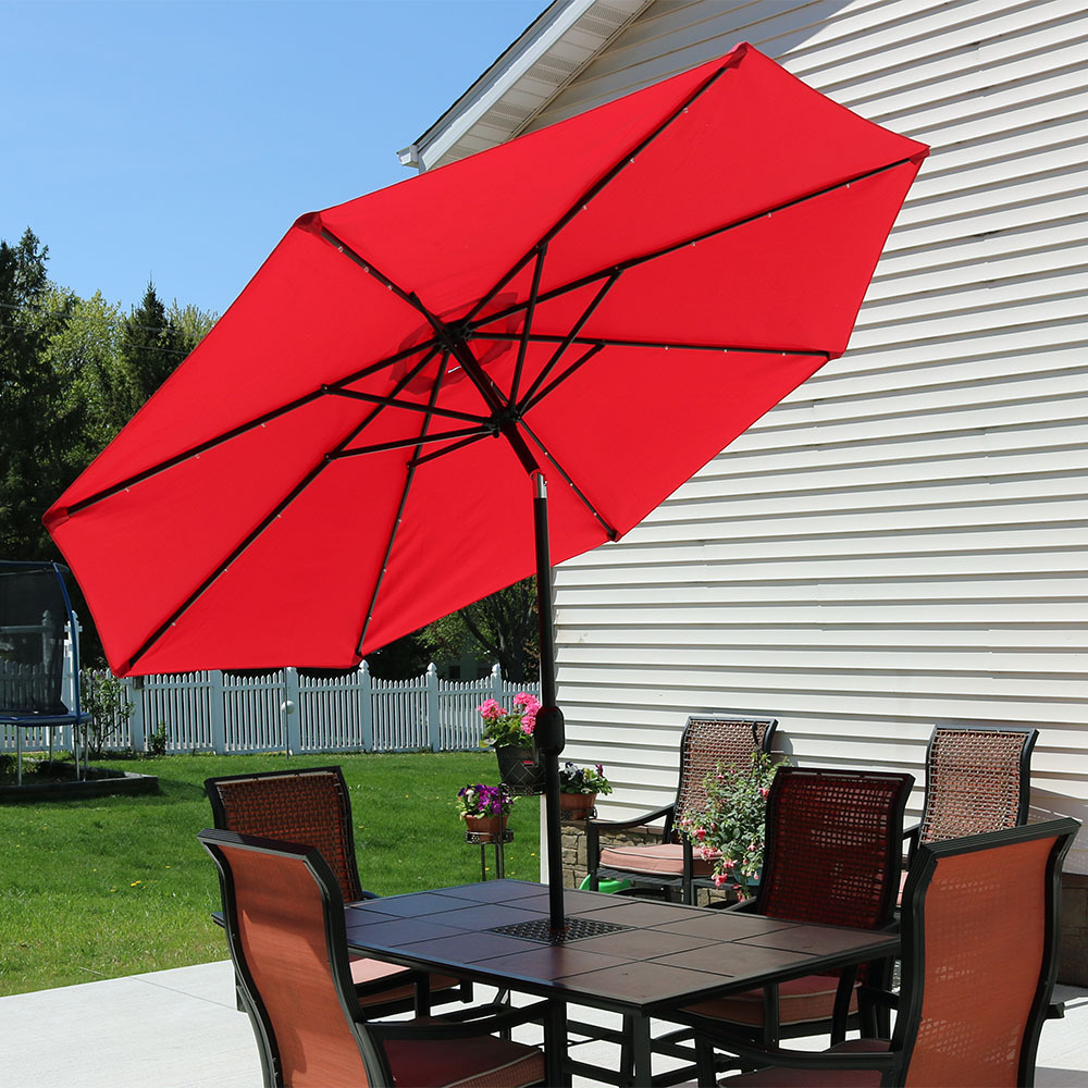 Sunnydaze 9 Foot Solar Powered LED Aluminum Patio Umbrella with Tilt & Crank, Red