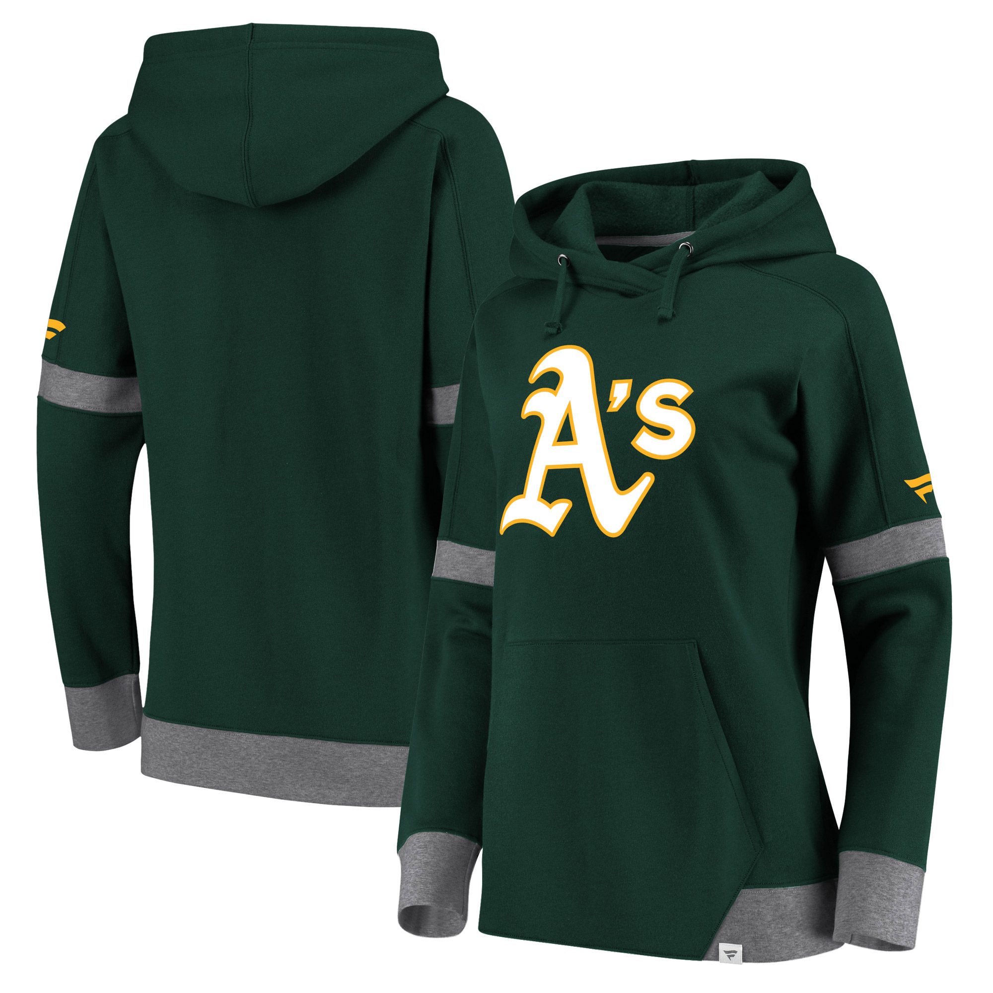 Oakland Athletics Fanatics Branded Women Iconic Fleece Pullover Hoodie - Green/Gray