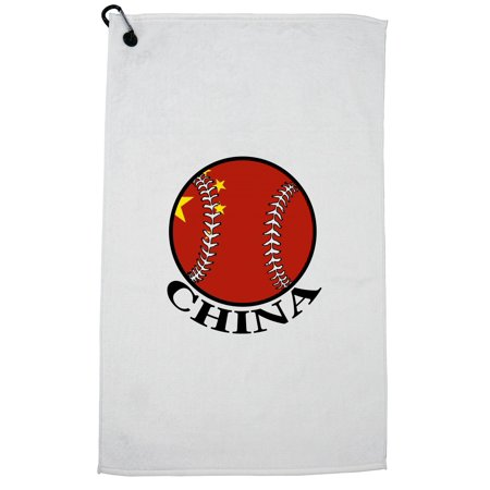 China Baseball Classic - World Vintage with Flag Golf Towel with Carabiner Clip