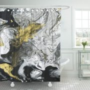 PKNMT Abstract Hand Black and White Gold Fragment of Painting Shower Curtain 60x72 inches
