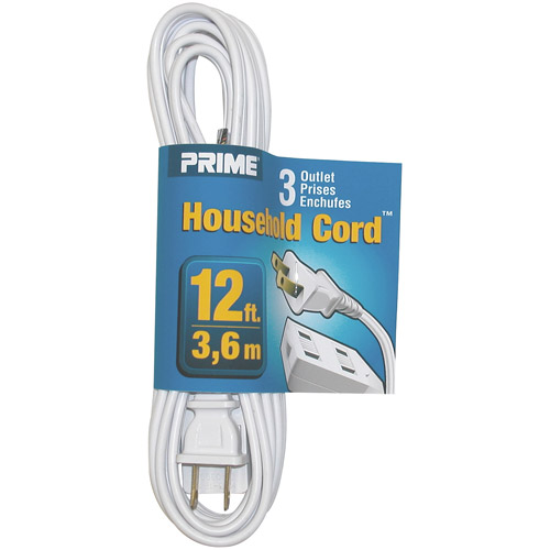 Prime Wire 12-Foot 16/2 SPT-2 3-Outlet Indoor Cord, White