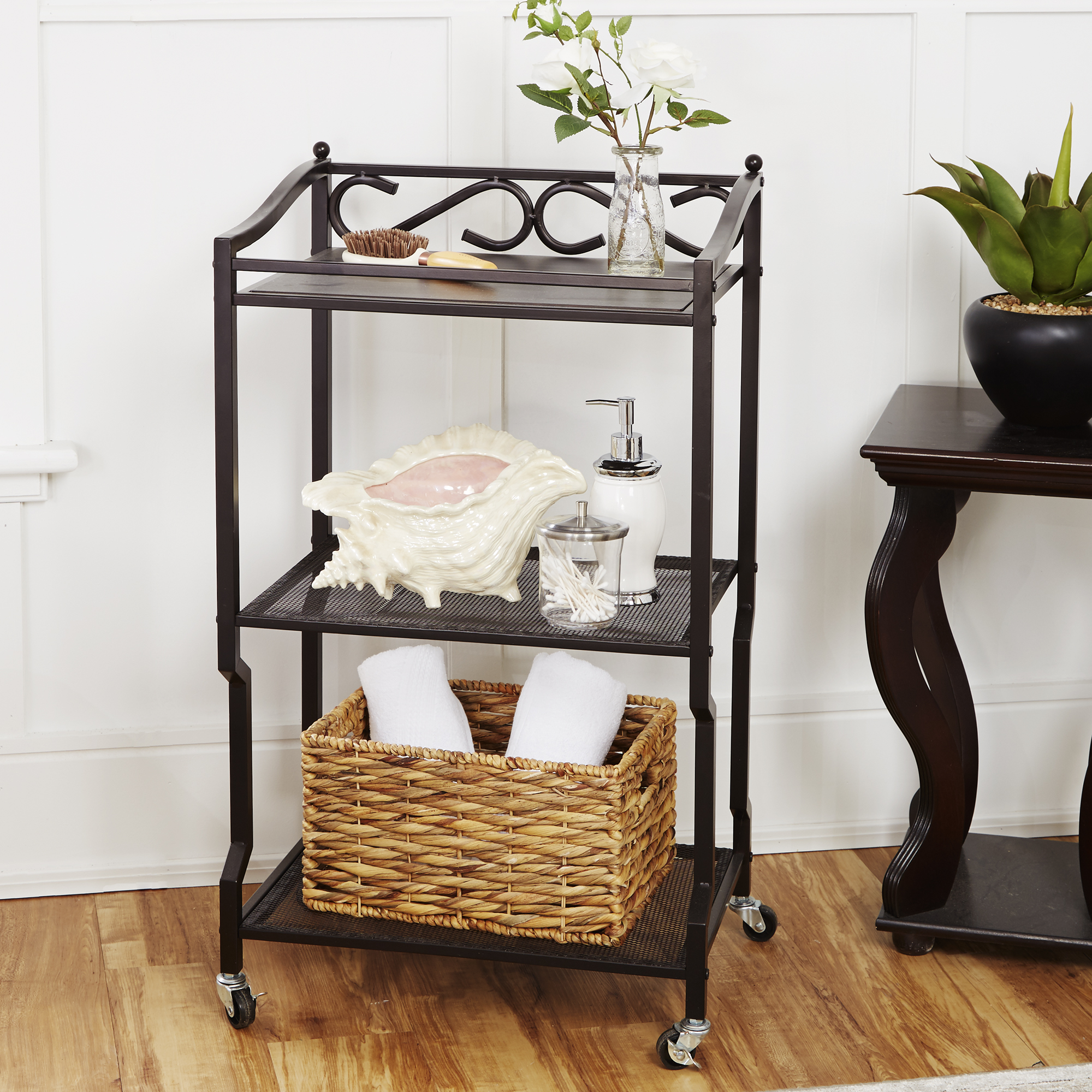 Chapter 3 Shelf Bathroom Storage Cart Oil Rubbed Bronze Finish