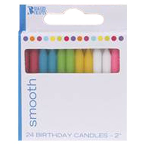 """Bakery Crafts Smooth Birthday Candles, 2"""", 24 count"""