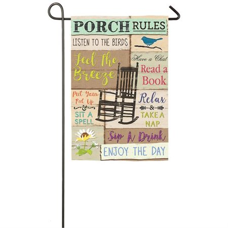 Evergreen Flag & Garden Porch Rules 2-Sided Suede 1'6 x 1'0.5 ft. Garden Flag](Porch Flags)